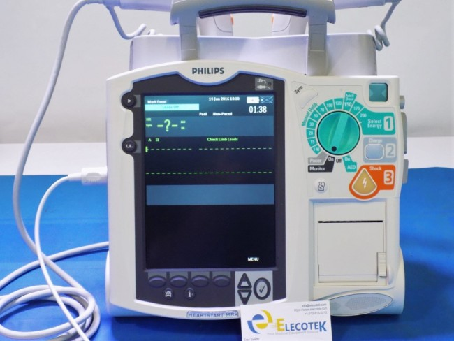 Philips heartstart MRX 3 Leads AED Pacer Paddles
