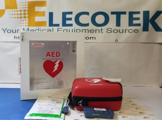 ReCertified Philips FRX AED With Alarmed Cabinet 5 Years Warranty