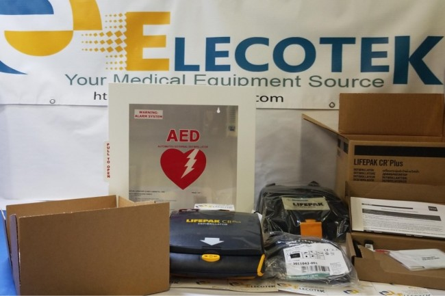 New Open Box Physio Control LIFEPAK CR Plus AED Fully-Automatic With Alarmed Cabinet 5 Years Warranty