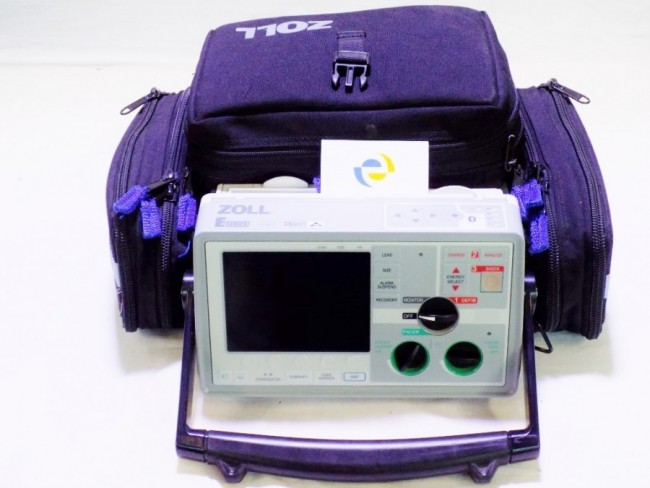 zoll e series defibrillator pre-hospital front view with case